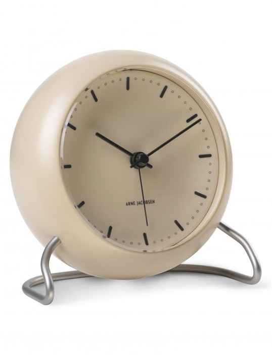 Arne Jacobsen City Hall 43693 table clock sandy beige