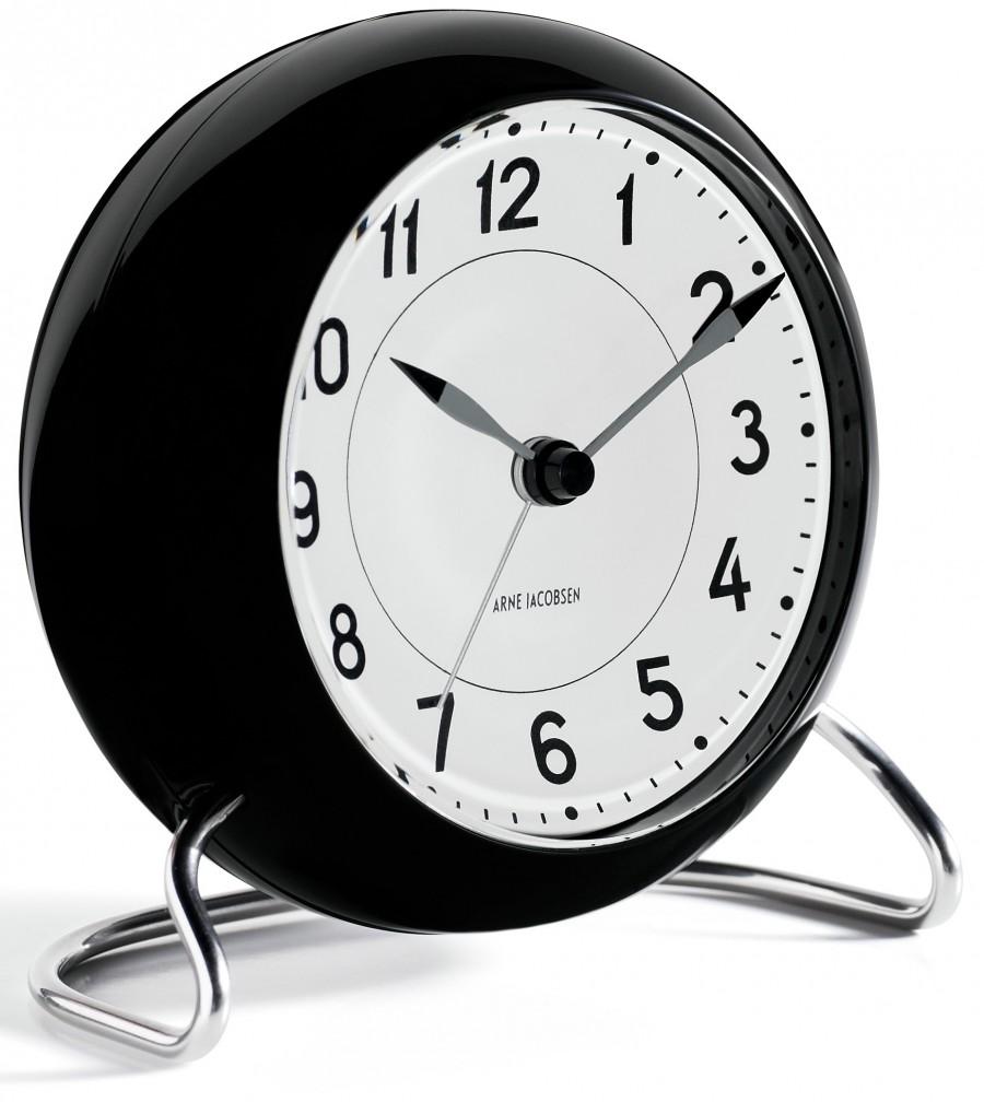 Arne Jacobsen Station 43672 table clock black