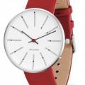 Arne Jacobsen Bankers horloge 53101/2/3 leer rood