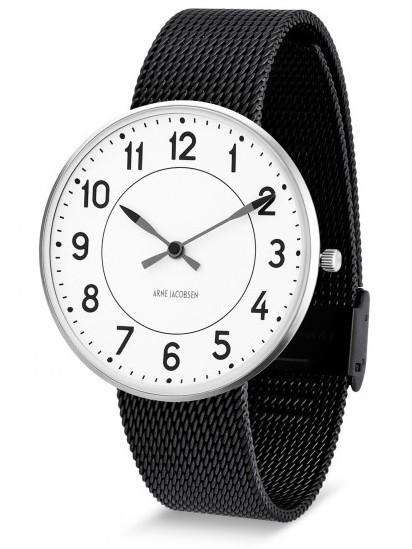 Arne Jacobsen Station horloge 53401/2 staal/zwart
