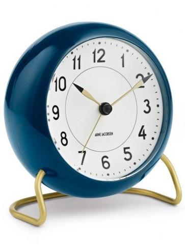 Arne Jacobsen Station 43678 table clock petrol blue