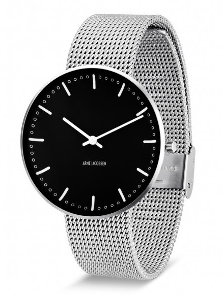 Arne Jacobsen City Hall horloge 53205 zwart
