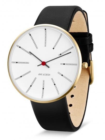 Arne Jacobsen Bankers horloge 53107/8 leer