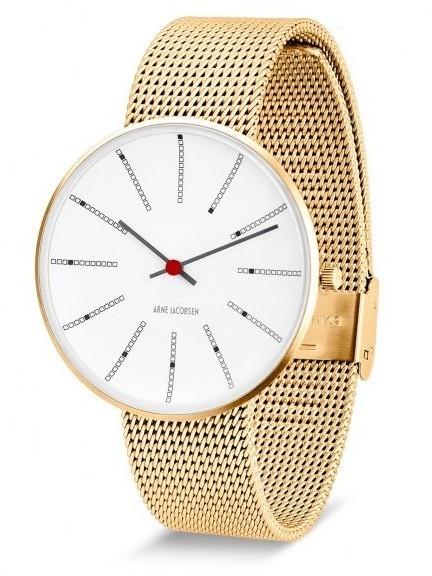 Arne Jacobsen Bankers horloge 53107/8 staal/goud