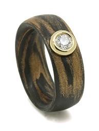 Schwab carbon/bronze ring 8 mm / 0,23crt