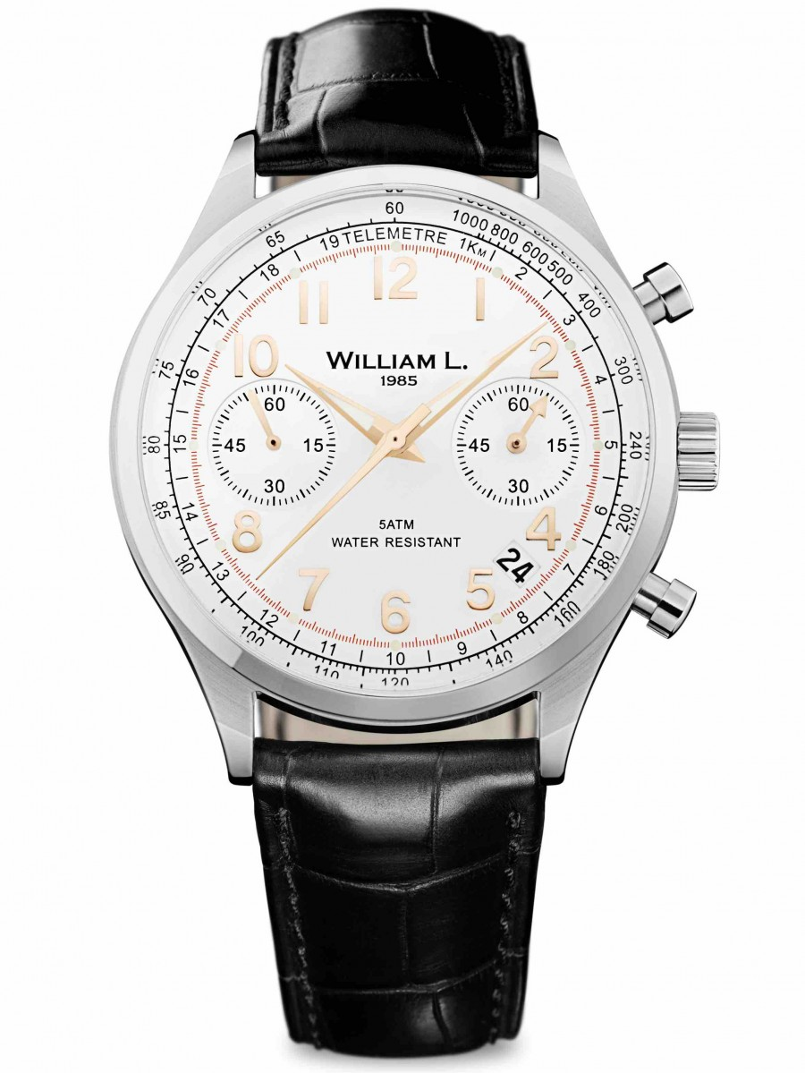 William L 1985 chronograph bicolore black croco WLAC01BCORCN