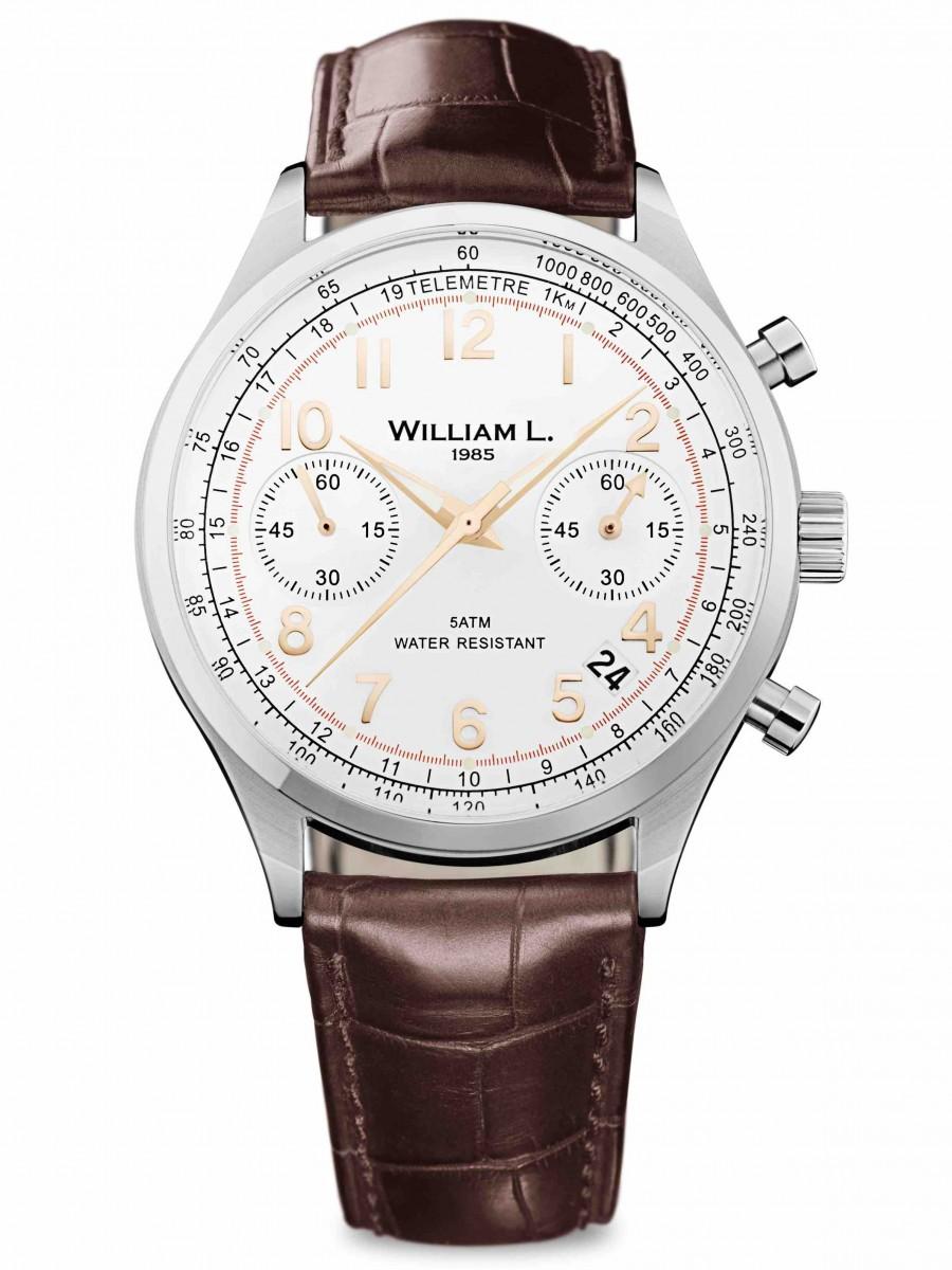 William L 1985 chronograph bicolore brown croco WLAC01BCORCM