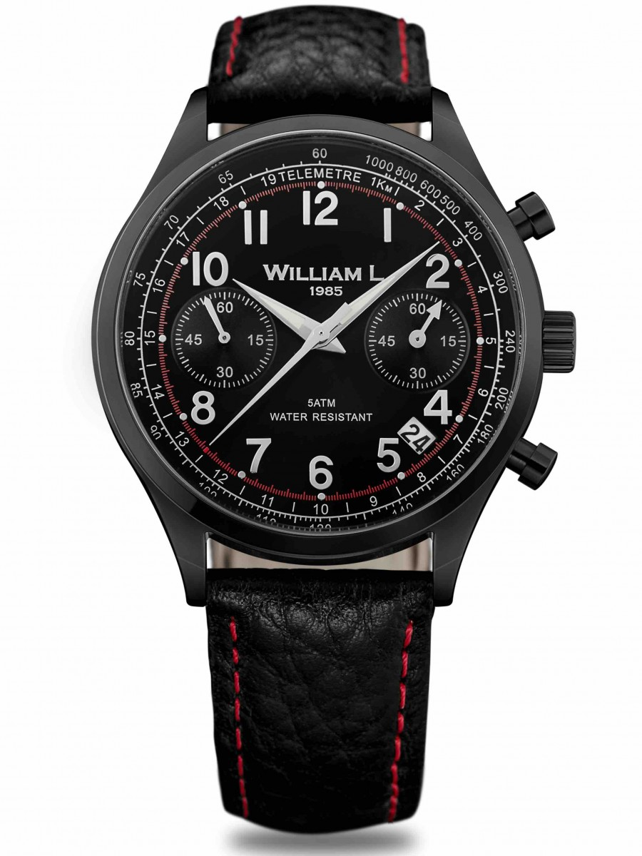 William L 1985 chronograph black black buffalo WLIB01NRBNSR