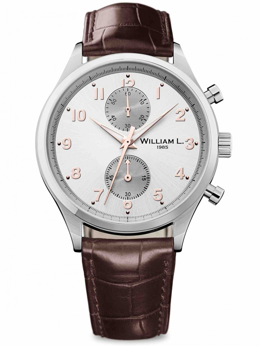 William L 1985 small chrono bicolore brown croco WLAC02GOCM