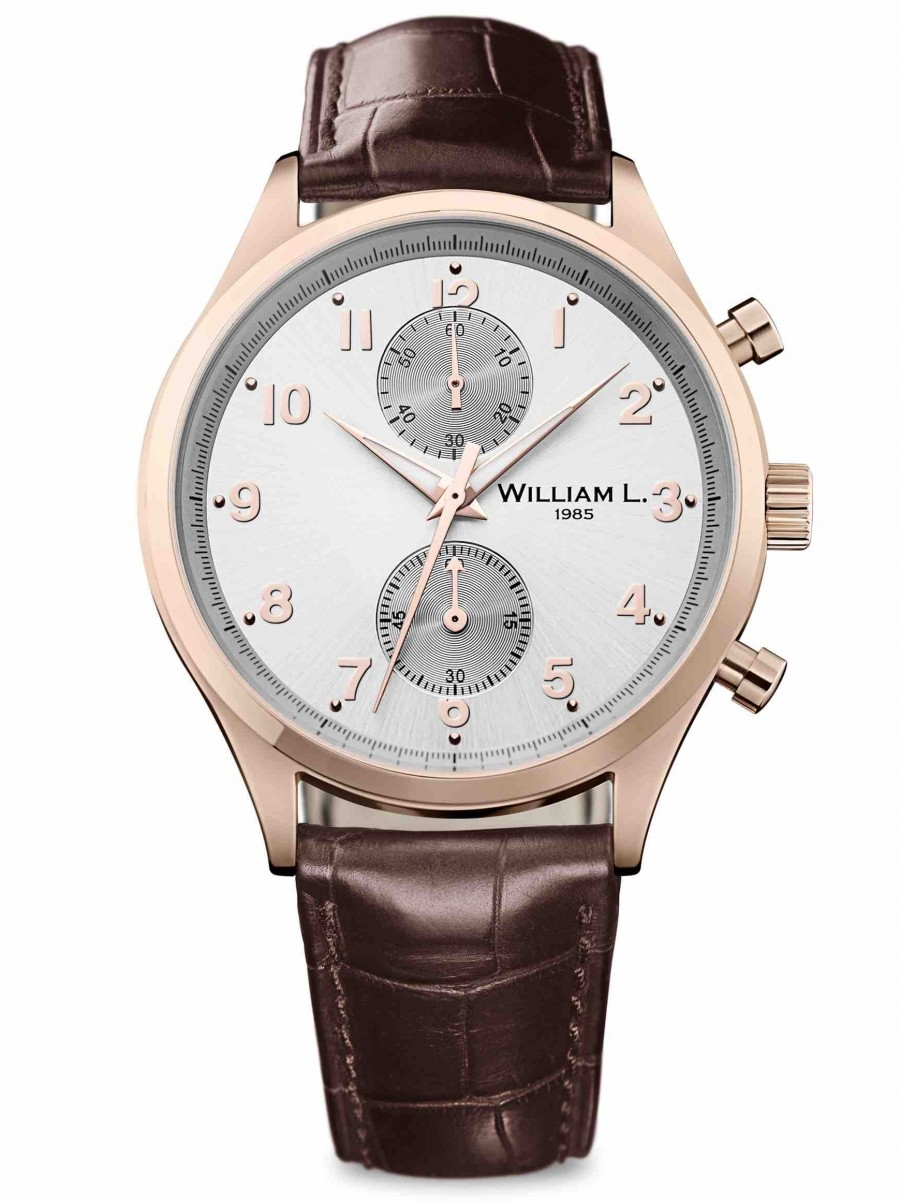 William L 1985 small chrono rose brown croco WLOR02GOCM