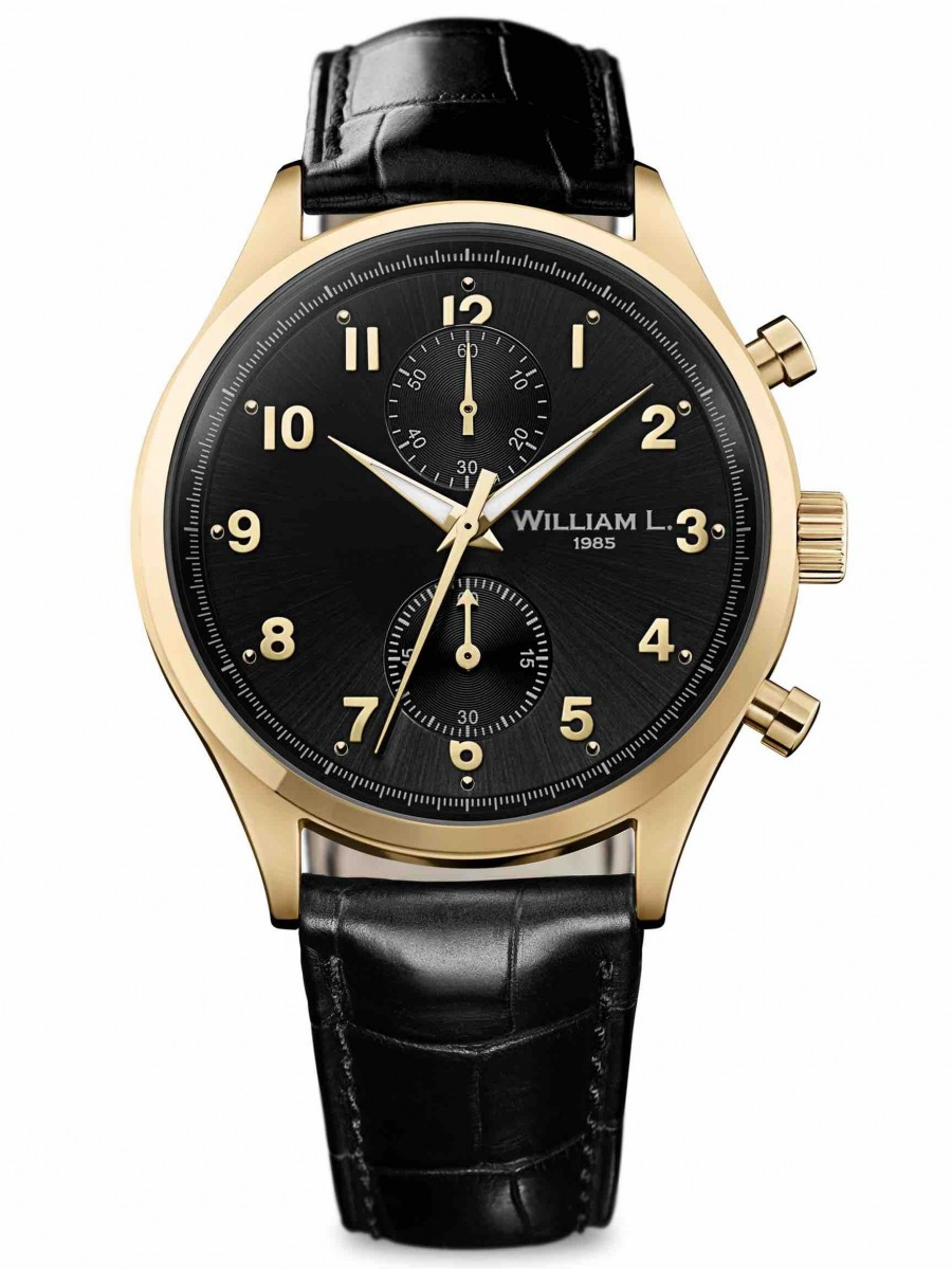 William L 1985 small chrono gold black croco WLOJ02NROCN