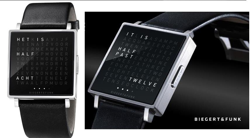 qlocktwo watch het horloge met de tijd in woorden van biegert funk. Black Bedroom Furniture Sets. Home Design Ideas